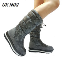 UKNIKI Brand Winter Woman Snow Shoes Female Solid Basic Elastic Boots Flat With Short Plush Mid