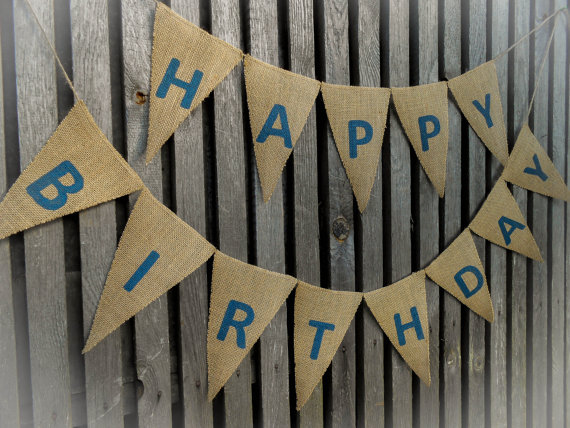 custom made personalized burlap banner happy birthday banner photo