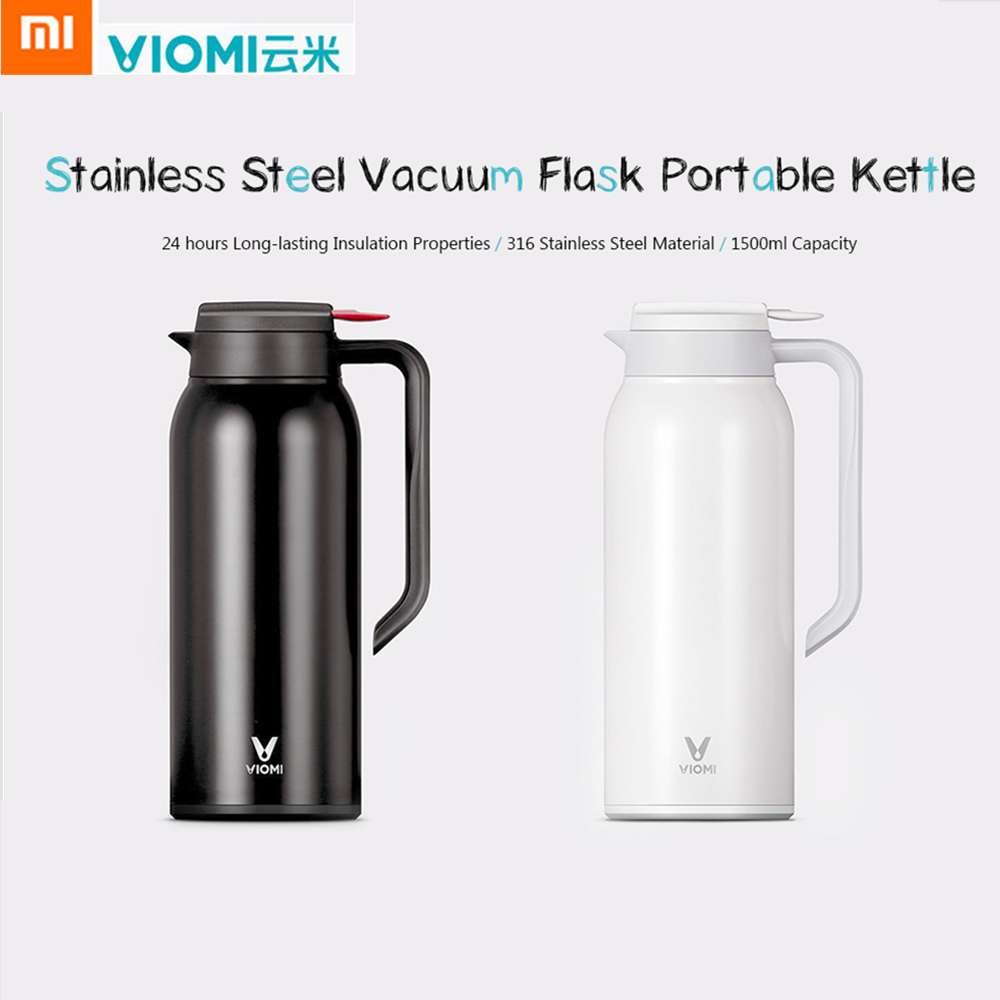 Original Xiaomi Mijia VIOMI 1.5L Kettle Stainless Steel Vacuum Flask Protable Thermos Cups 24 Hours Water Smart Bottle Thermos 1 5l big capacity xiaomi viomi stainless steel bottle thermos water vacuum bottle cup flask pot 24h keep warm for home office