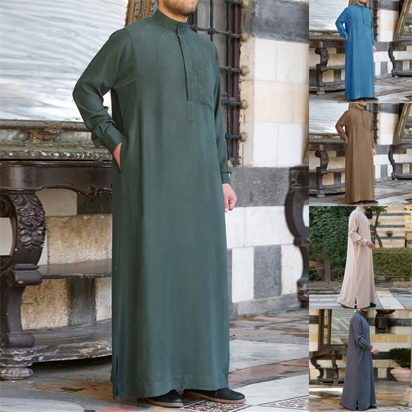 Islamic Clothing For Men Jubba Thobe Abaya Dubai Solid Long Sleeve Thin Long Robes Mens Arab Clothes Kaftan Dress