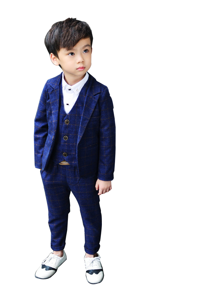 Boys Formal plaid Suits For Weddings England Style Man Child Blue Party Tuxedos