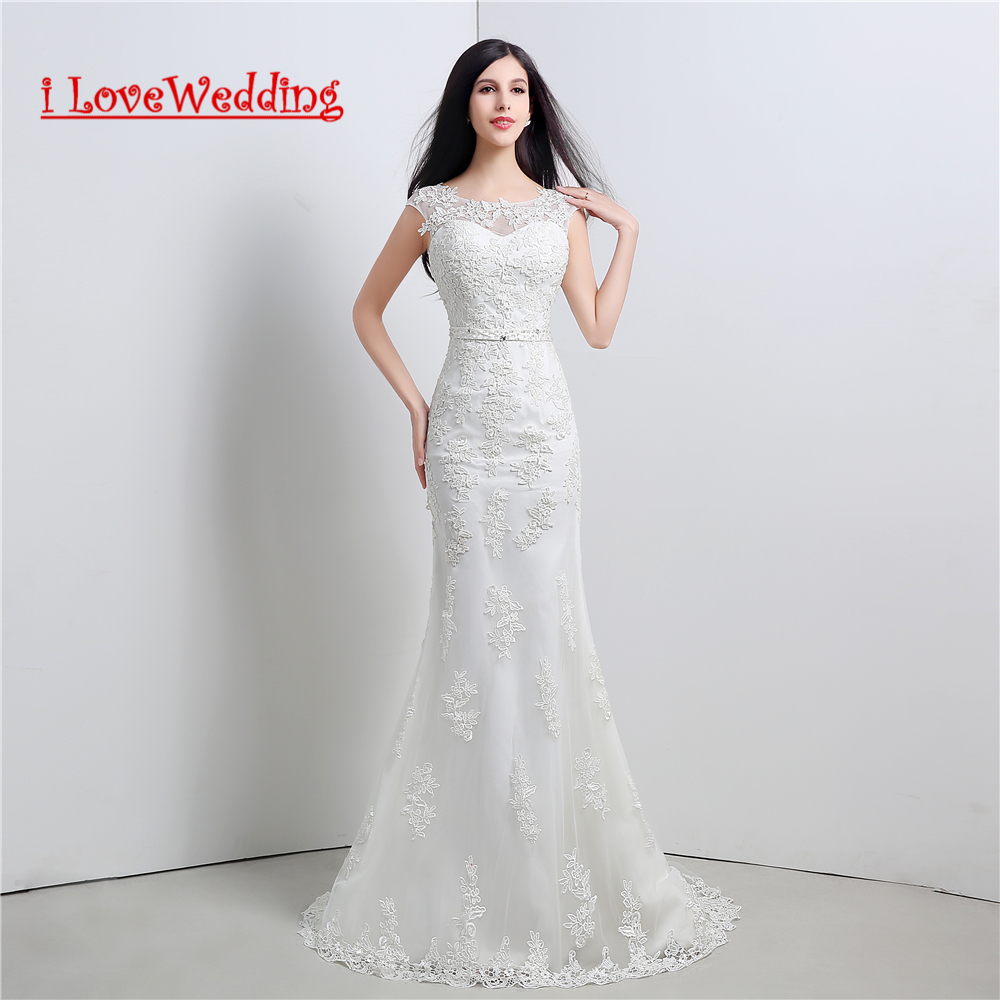 iLoveWedding Stock New White Ivory A Line Wedding Dresses Appliques Bead Sashes Women Formal Bridal Gown