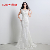 iLoveWedding Stock New White/Ivory A Line Wedding Dresses Appliques Bead Sashes Women Formal Bridal Gown Vestidos de novia 26119