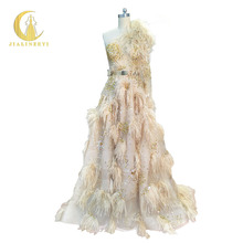 Rhine Real Image Sample One Long Shoulder Zuhair Murad Champange Gold Sequins Feather Luxurious Fashion new Formal evening dress(China)