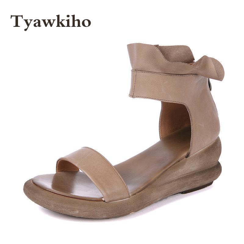 Tyawkiho Genuine Leather Women Sandals Ankle Strap Summer Shoes Leather Sandals 7 CM High Heels Wedge Retro Shoes Handmade 2018