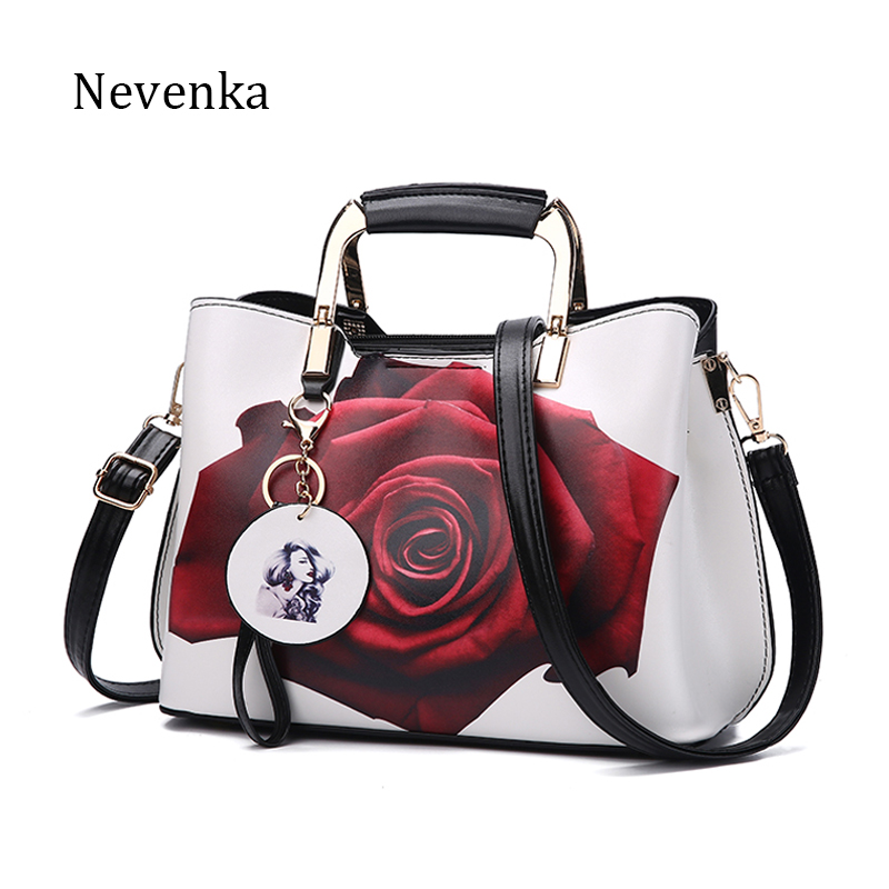 Nevenka Women Handbag Fashion Style Female Painted Shoulder Bags Flower Pattern Messenger Bags Leather Casual Tote Evening Bag nevenka new design women fashion style handbag female luxury chains bags sequined zipper messenger bag quality pu leather tote