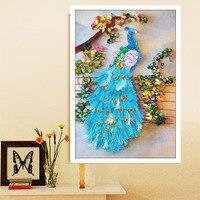 Новое поступление рукоделие DIY 3d вышивка крестиком комплект Незаконченный Ленты картина цветы синий павлин Шить Ремесло
