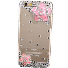 Bling Rhinestone Diamond Crystal Glitter Bling Case Cover Shell Phone Case for Iphone4s 5s 5c 6/6plus 7/7plus case(Camellia)
