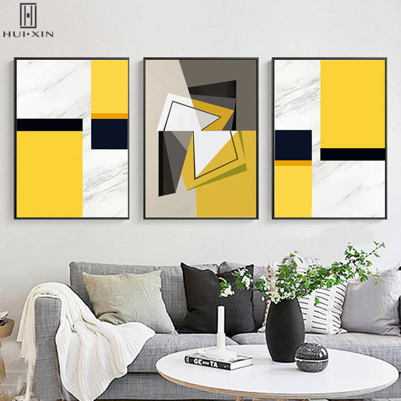 Abstrct Canvas Paintings Yellow Black White Orange Geometry Square ...