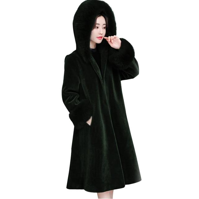 Long Thick Fur Coat Women Fur Jacket Winter Overcoat Rabbit Faux Outerwear long Rabbit Fur Coat with Fox Fur Collar Outwear
