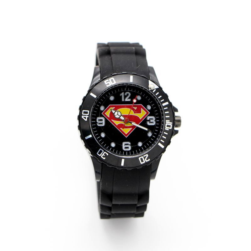 New Superman Super Man Silicone Watch Quartz Kids Sports Fashion Cartoon Watch Wristwatch Boy Students Christmas Relogio Watch