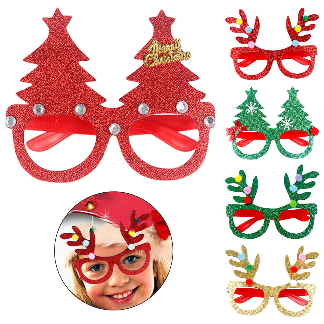 Popular Christmas Decoration Glasses Children Christmas Gifts Holiday Supplies Paper Led Party Creative Glasses Let Our Commodities Go To The World Men's Glasses Men's Eyewear Frames