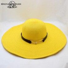 BINGYUANHAOXUAN עבור נשים קיץ שמש כובע יוניסקס פנמה כובע 2018 חדש הגעה אופנה קש חוף כובע