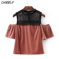New Spring Ladies Velvet Lace Strapless Tops Lady Off Shoulder Blouse Shirt S1236