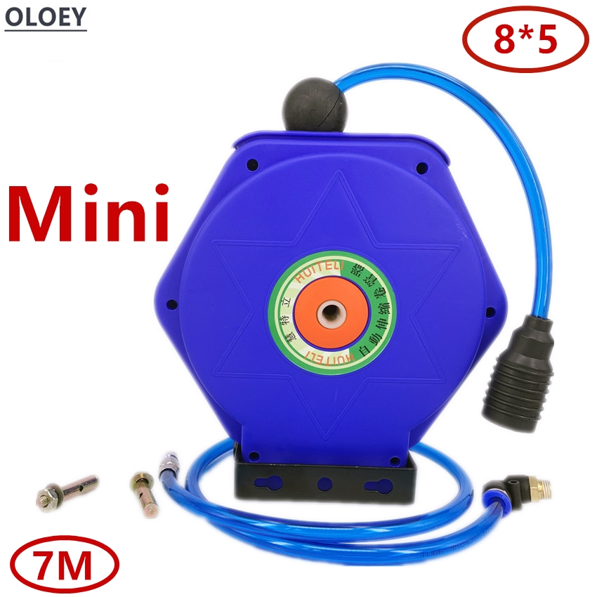 7M Mini gas drum Automatic Retractable Reel Telescopic Drum Hose PU8*5 OD 8MM ID 5MM Automotive Air Hose Reel Pneumatic PU Tube7M Mini gas drum Automatic Retractable Reel Telescopic Drum Hose PU8*5 OD 8MM ID 5MM Automotive Air Hose Reel Pneumatic PU Tube