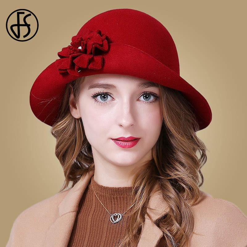 b598d94b87 FS Mulheres Outono Chapéu 100% Fedoras Lã Elegante Azul Vermelho Preto  Senhoras Aba Larga Feltro Bowler Chapéus de Inverno Flor Do Vintage chapéu  Cloche
