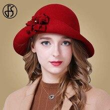 FS VINTAGE Red Church หมวกผู้หญิงฤดูหนาวผ้าขนสัตว์กว้าง Brim Fedoras สุภาพสตรีสีฟ้าสีดำ Fedora ดอกไม้ Bowler Felt Cloche หมวก