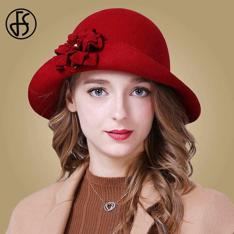 FS Vintage Merah Church Topi Wanita Elegan Musim Dingin Wol Topi Fedoras Wanita Biru Hitam Fedora Bunga Bowler Merasa Cloche topi