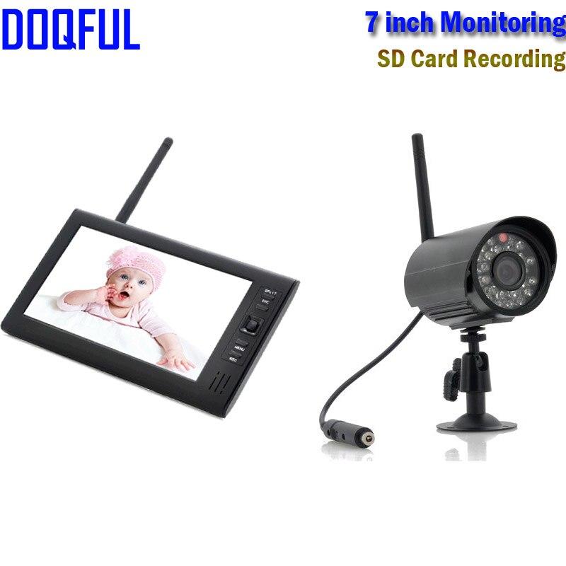 7 дюймов TFT ЖК дисплей Беспроводной Цифровая Радионяня 2,4 ГГц ИК Видео Камеры Скрытого видеонаблюдения Ночное видение SD карты Запись домашне