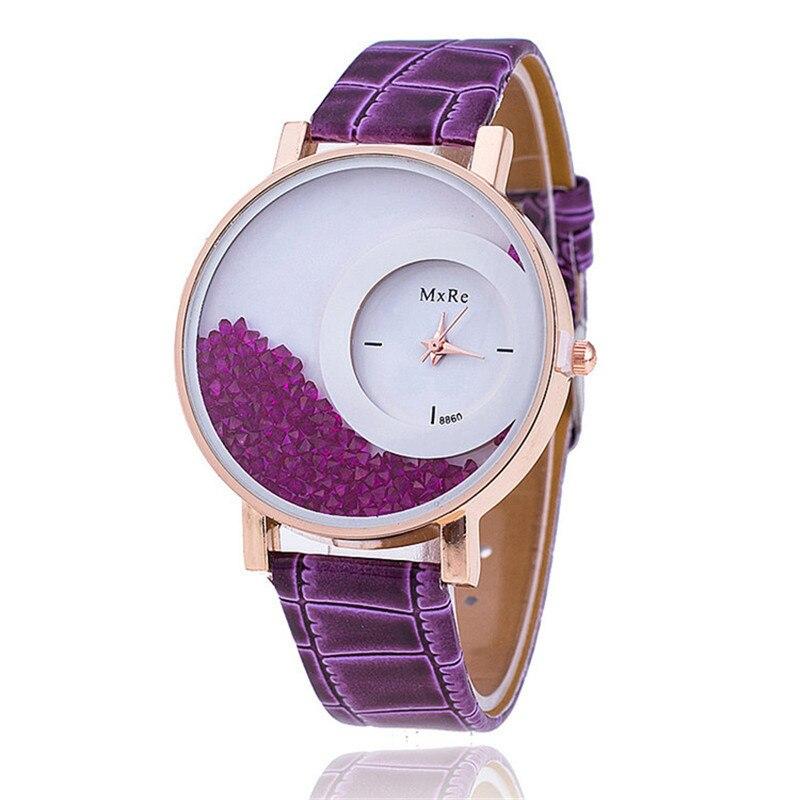 MEIBO Fashion Leather Watchband font b Women b font Rhinestone Wrist font b Watch b font