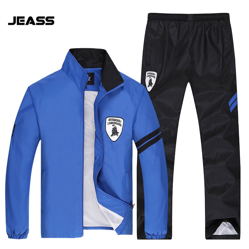JEASS Mens Sports Suits long Sleeve Running Men Sets Quick Dry Fit Outdoor Sport Tracksuit Plus Size Men Windproof Running Suits