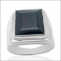 Qi Xuan_Fashion Jewelry_Dark Blue Stone Man Rings_Fashion Rings_S925 Solid Sliver Fashion Rings_Manufacturer Directly Sales