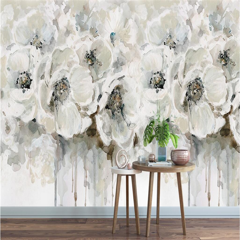 Abstract Art Mural 3D European Flower Wallpaper for Walls 3D White Oil Painting Wall Covering Living Room Home Decor Hotel Mural shinehome sunflower bloom retro wallpaper for 3d rooms walls wallpapers for 3 d living room home wall paper murals mural roll
