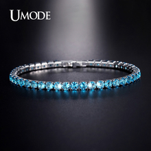 UMODE Simulated Aquamarine Brand Bracelets For Women Jewelry Fashion Pulseira Feminina Hot Christmas Gifts Bracciali AUB0097E