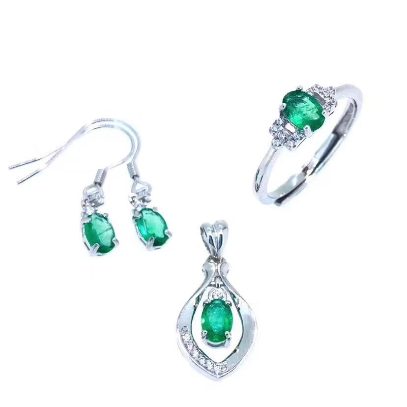 Natural Emerald jewelry set Natural Real Emerald 925 sterling silver 1pc pendant 1pc ring 2pcs Earring