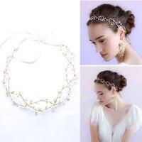 Shinny perle de mariée mariage Head Piece Mariée Chapeaux Bandeau Bande De Cheveux 100% Fait Main femmes Parti Bijoux Accessoires