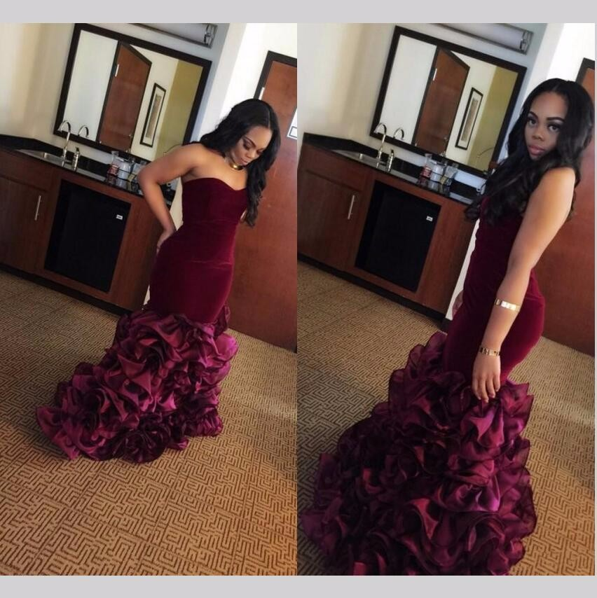 Sexy African Burgundy Velvet Mermaid Prom Dresses Long