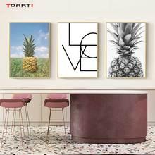 Ananas ściany sztuki na płótnie plakaty drukuje Nordic listy miłosne obraz na płótnie na ścianie czarny biały Art zdjęcia dla domu wystrój