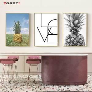 Image 1 - Ananas mur Art toile affiches imprime nordique amour lettres toile peinture sur le mur noir blanc Art photos pour la décoration intérieure