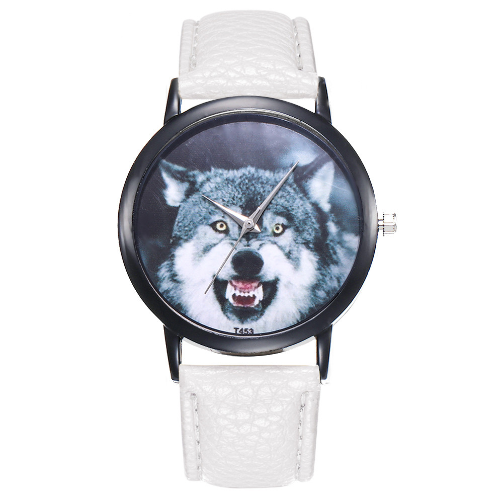 Women Tiger animal pattern PU Leather Strap Analog Quartz Round Watch Designer Ladies Clock Elegant Dress Female wristwatches analog watch