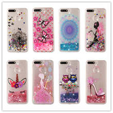 For Huawei Honor 7A Pro 5.7 Case Liquid Glitter Y6 2018 Prime Dynamic Quicksand Star Soft TPU Back