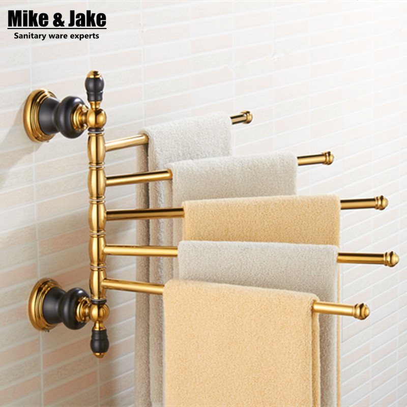 Luxury movable bath 5 pcs Towel Bars,golden Towel Holder,Solid Brass Made,Gold Finished,Bath towel bar Bathroom Accessories bathroom shelves wall mounted towel rack bars bath towel carved holder 2 tier brass bathroom accessories towel tack ssl s22