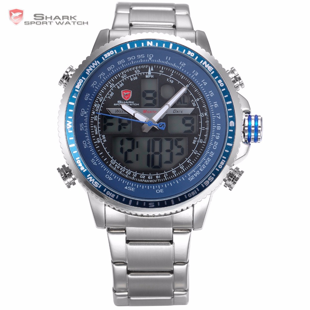 Winghead SHARK Sport Watch Blue LCD Analog Date Alarm Chronograph Stainless Steel Quartz Running Clock Men Digital Watch /SH326N top brand luxury digital led analog date alarm stainless steel white dial wrist shark sport watch quartz men for gift sh004