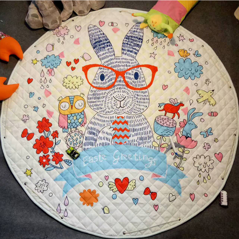 Round Baby Play Mat Kids Floor Puzzle Crawling Rugs Soft Cartoon Blanket Carpet Baby Gym Playmat Best Gift for Children ins 95cm baby play mat cotton kids play game mats playmat round children s rugs baby gym playmat floor carpet for crawling