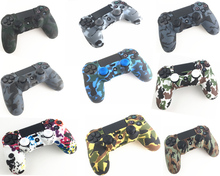 For Playstation 4 PS4 Pro Slim Gamepad Protect Camouflage Camo Silicone Gel Rubber Soft sleeve Skin Grip Cover Case+2 Caps