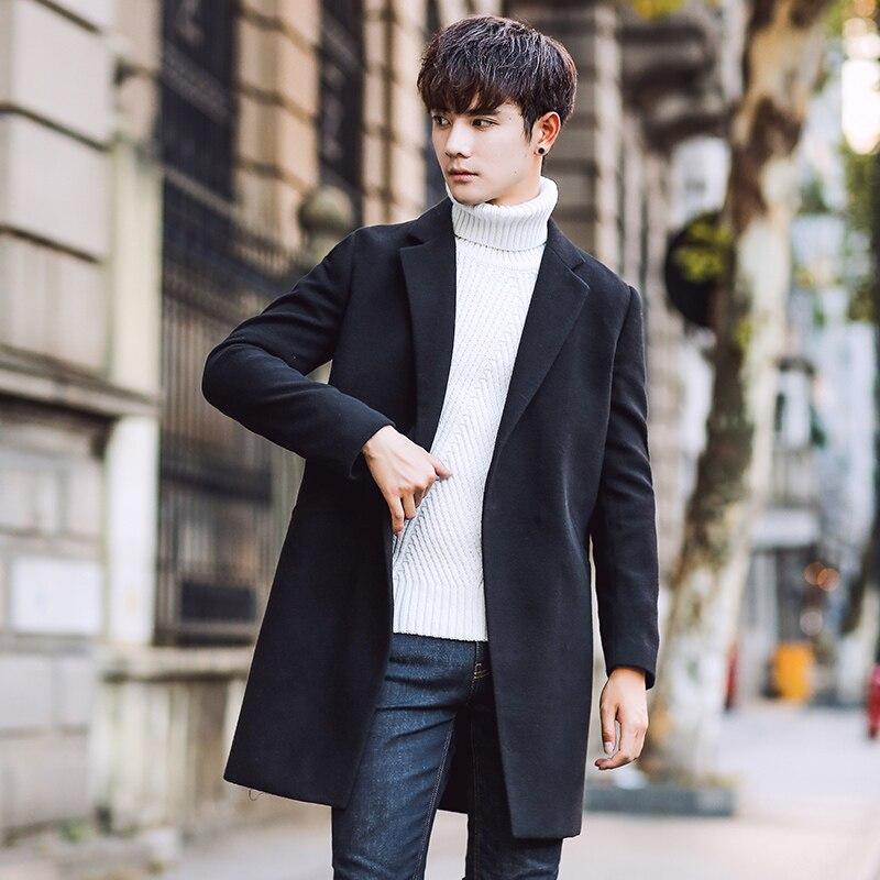 Coat Men Elegant Jacket Business Woolen Long Casual New-Fashion Solid Slim-Fit