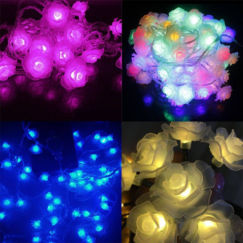Newest Remote Battery Operated Lotus String Lights 2m 20 LED Flower Fairy Light String for Indoor and Outdoor