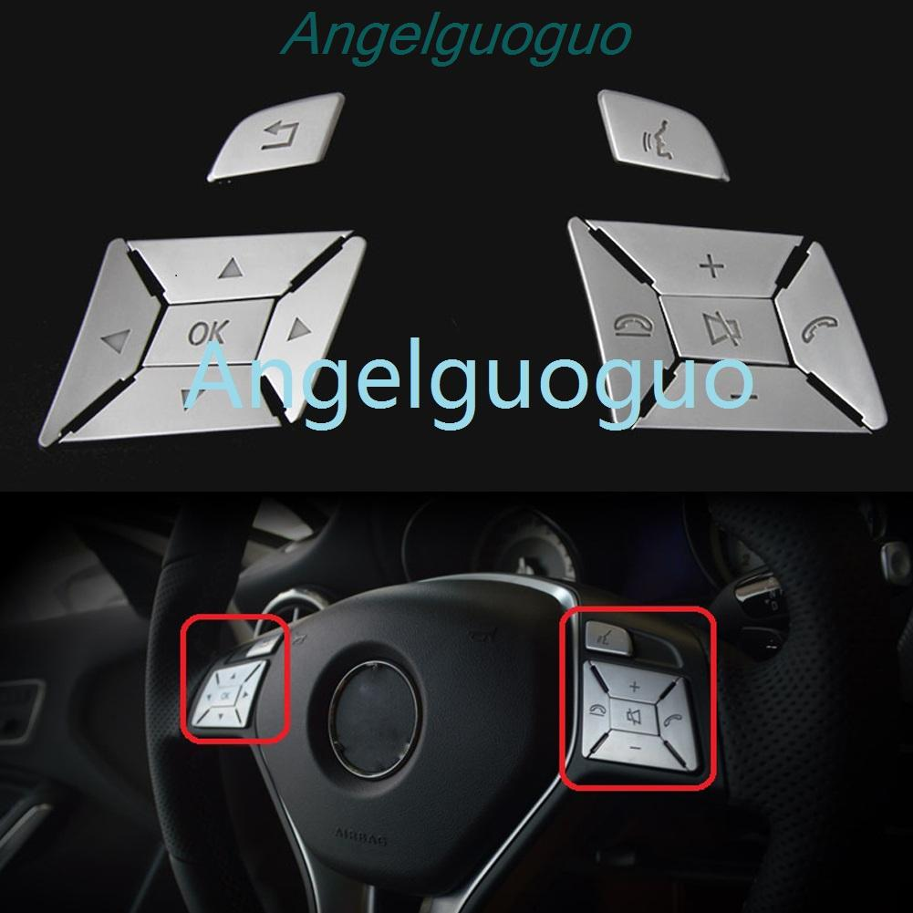 Angelguoguo Car steering wheel buttons knob Trim Cover sticker for Mercedes Benz E Class W212 Coupe
