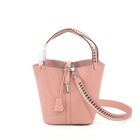 Camelia Fashion Bucket Bag Genuine Embossed Cow Leather Top Handle & Braided Shoulder Strap with Padlock