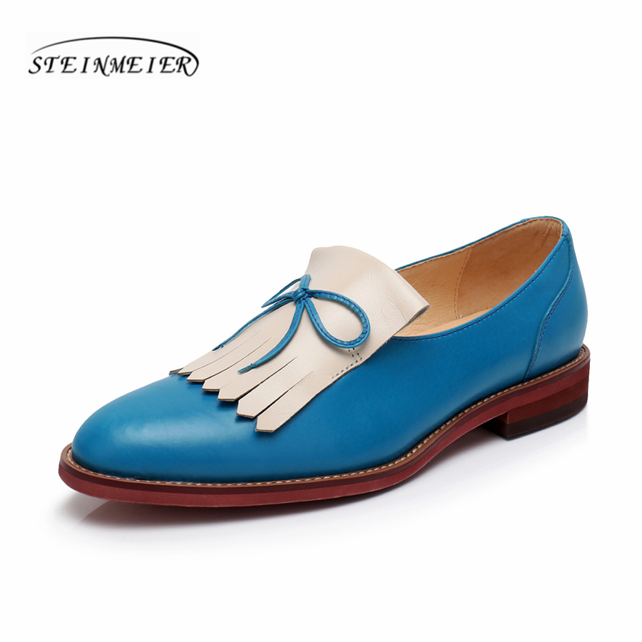 Genuine leather brogues designer yinzo vintage women flats shoes handmade red brown blue oxford shoes for women 2018 spring women natrual leather yinzo brogues flat oxford shoes woman vintage handmade sneaker oxford shoes for women 2018 red brown pink
