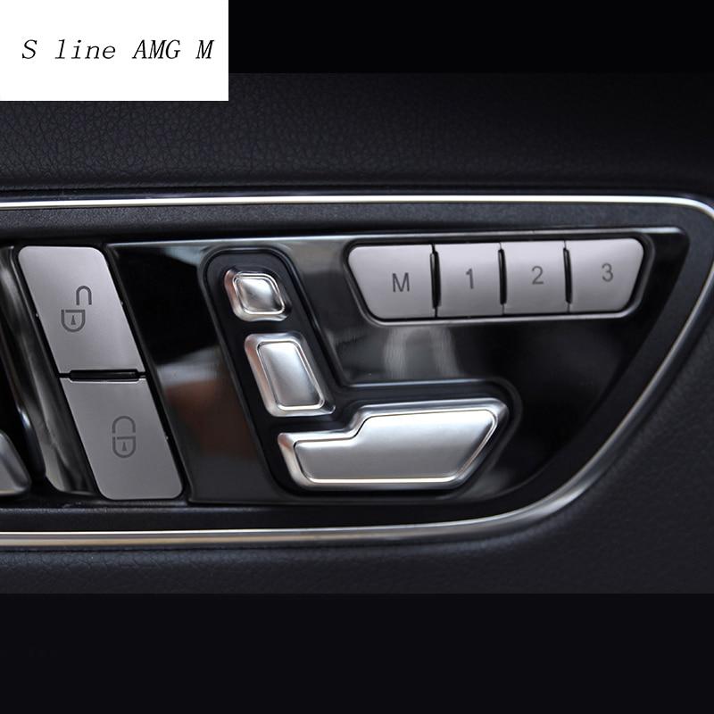 Araba Styling koltuk ayar düğmesi anahtarı kapağı Mercedes Benz için W204 W205 W212 W218 X204 X166 C E GLK GL ML sınıfı oto aksesuarları
