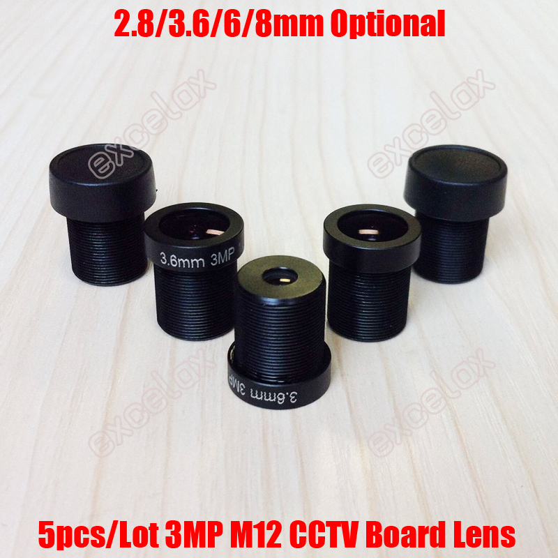 Image 2 - 5PCS 3MP 2.8mm 3.6mm 6mm 8mm F2.0 CCTV Fixed Iris IR Board Lens M12 MTV Interface Mount for Video Surveillance Analog IP Camera-in CCTV Parts from Security & Protection