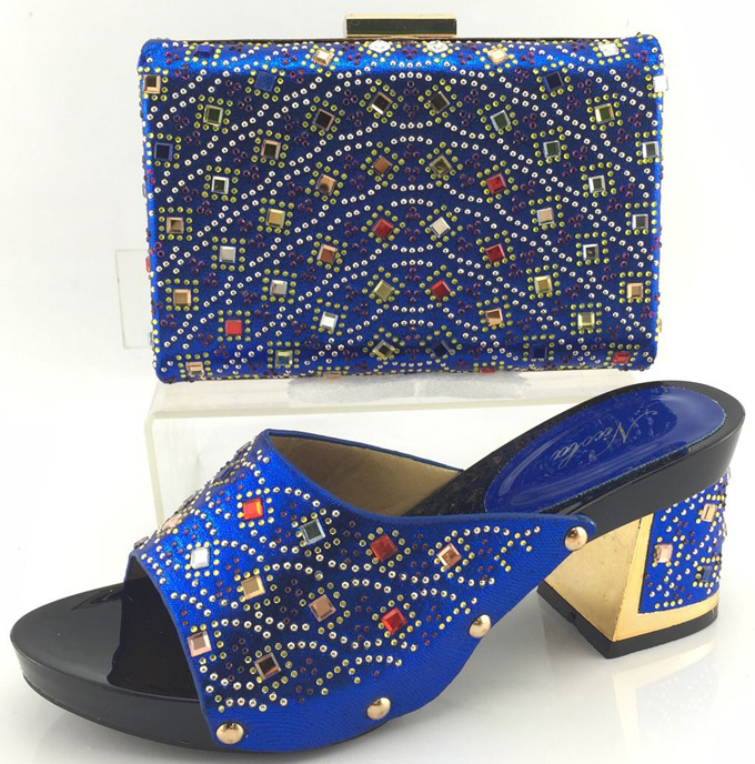 ФОТО Royal Blue Shoes And Bag To Matching High Quality African Woman Shoes With Matching Bag Set Fashion Women Sandal ME3319