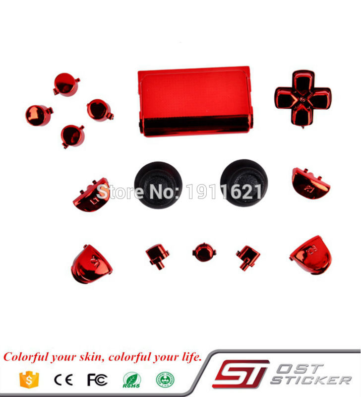 Full Buttons Kits Set Chrome Red For Playstation 4 PS4 Controller Joystick Video Game Accessories
