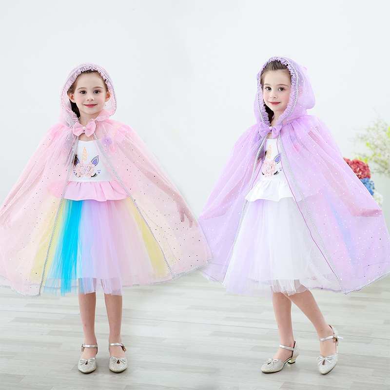 2019 New Girls Princess Cloaks Elsa Dress Cosplay Cloak for New Year Party Kids Carnival Clothes Fancy Pretty Cloak