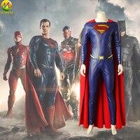 Movie Justice League Superman Cosplay Costumes Superhero Suit Custom made Cosplay Superman Jumpsuit For Halloween